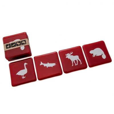 Animal Coasters Red (Set of 4)