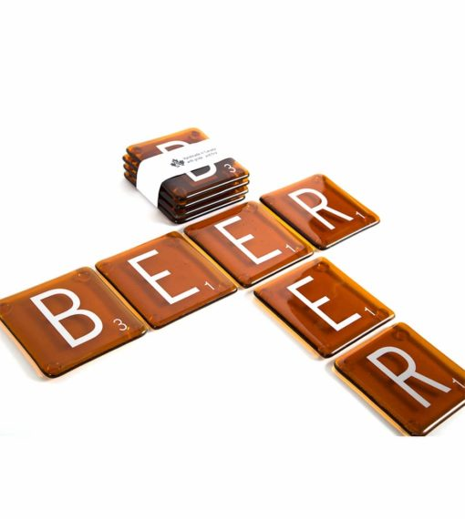Beer Scrabble Coasters (Set of 4)
