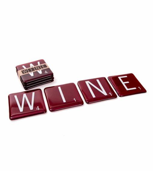 Wine Scrabble Coasters (Set of 4)